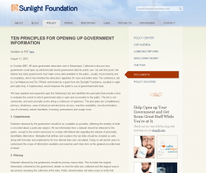 Ten Principles for Opening Up Government Information – Policy Center – Sunlight Foundation
