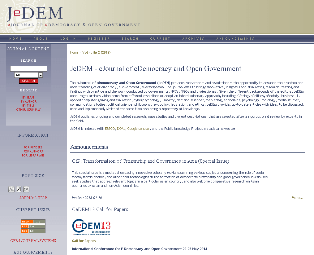JeDEM – eJournal of eDemocracy and Open Government