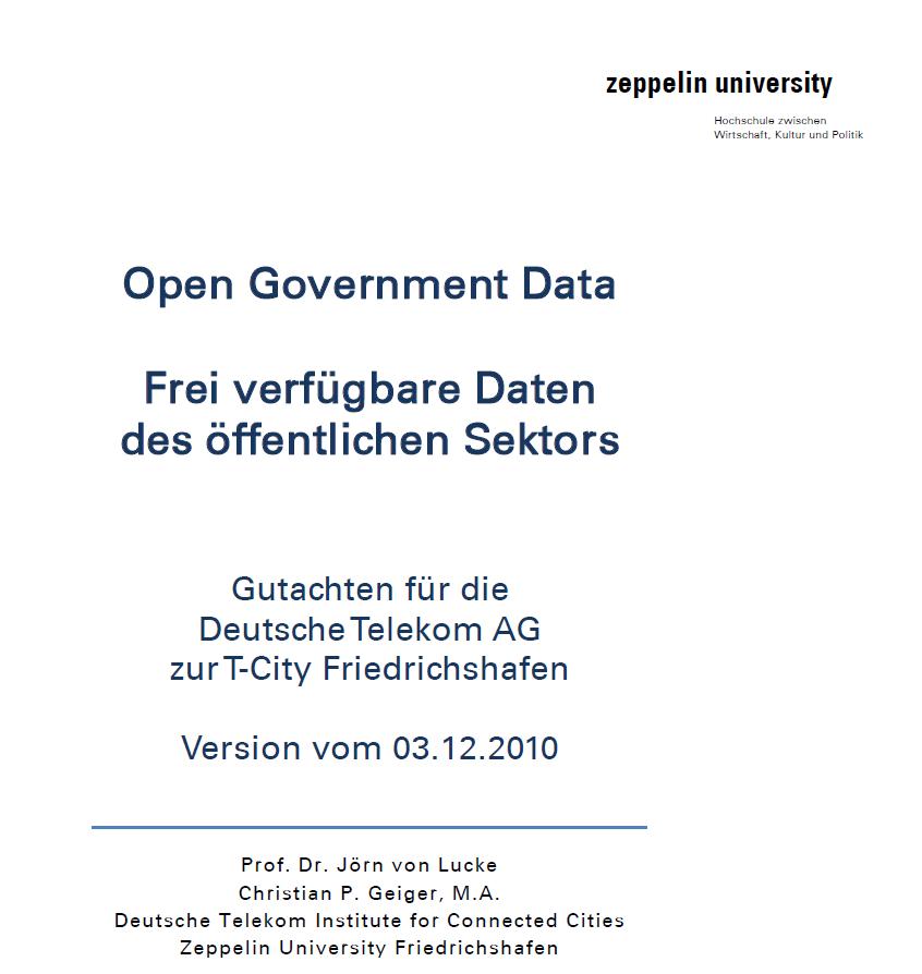 Open Government Data – Frei verfügbare Daten des öffentlichen Sektors