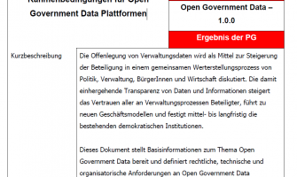 Rahmenbedingungen für Open Government Data Plattformen