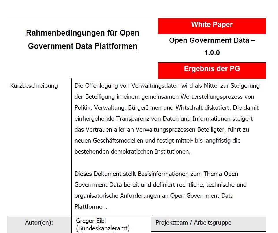 Rahmenbedingungen für Open Government Data Plattformen
