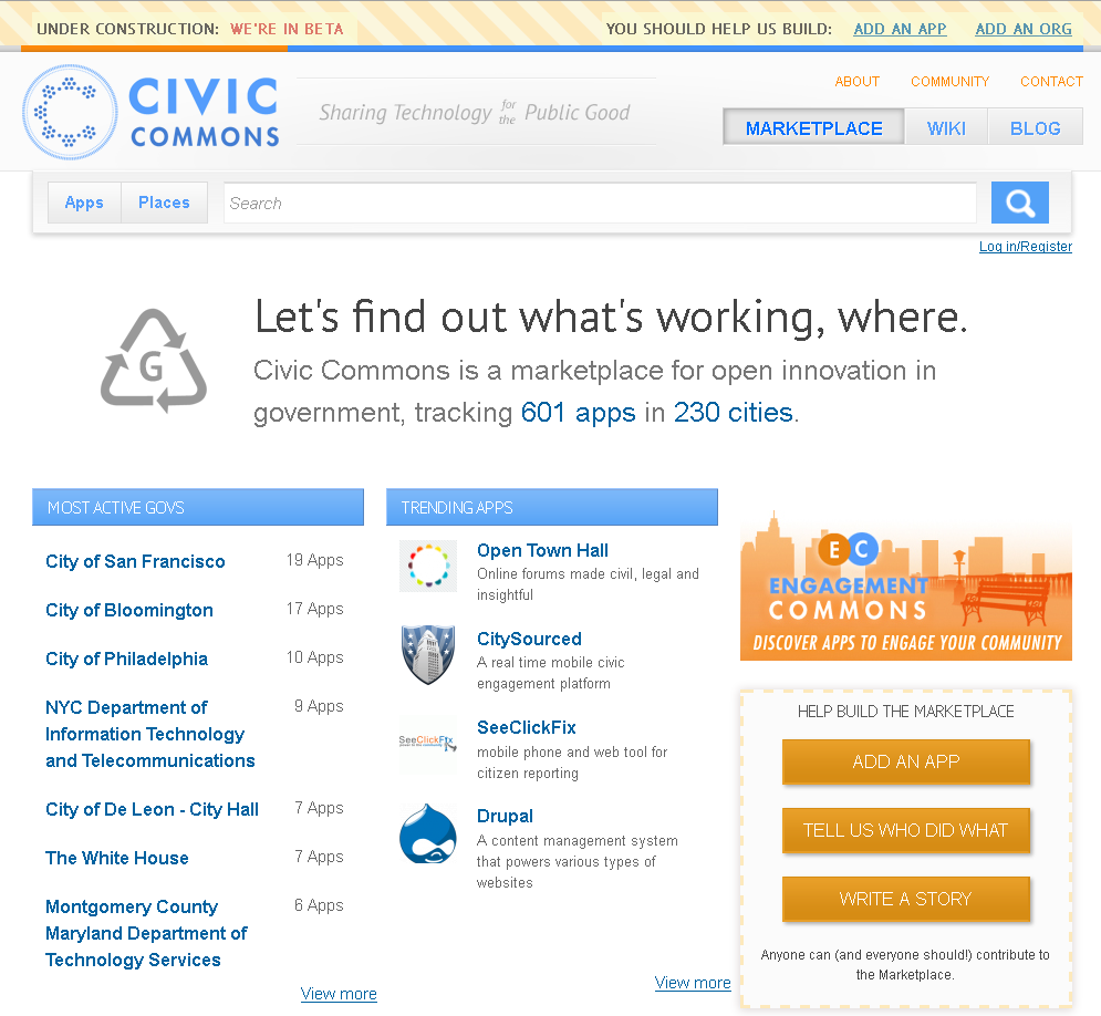 Let's find out what's working, where.   Civic Commons