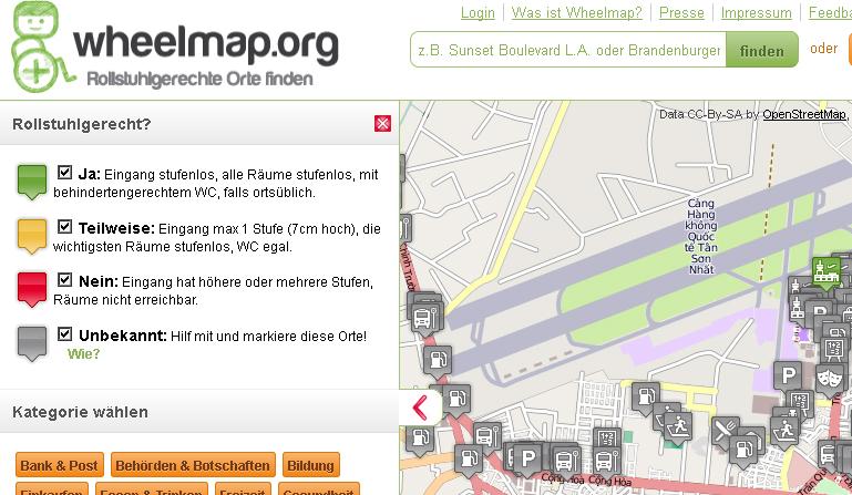 Wheelmap – Rollstuhlgerechte Orte finden