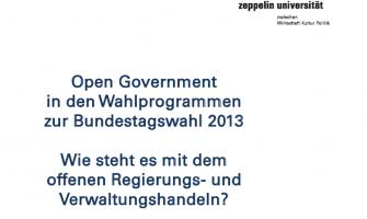 Open Government und die Bundestagswahl 2013