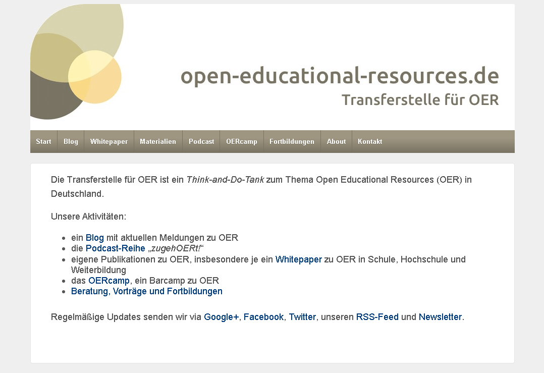 open-educational-resources.de – Transferstelle für OER