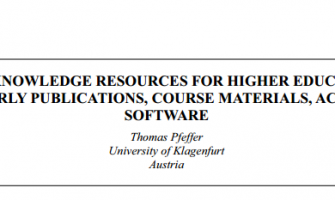 OPEN KNOWLEDGE RESOURCES FOR HIGHER EDUCATION: SCHOLARLY PUBLICATIONS, COURSE MATERIALS